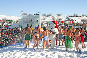 Winter bath in the snow, a Quebec City tradition.