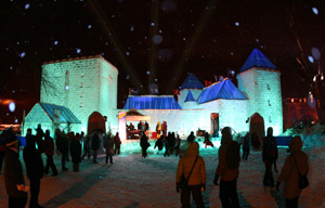 Winter Palace, made of blocks of ice. photo from Quebec Carnaval.