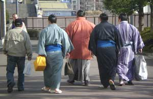 At lunchtime the makuuchi (senior wrestlers) arrive.