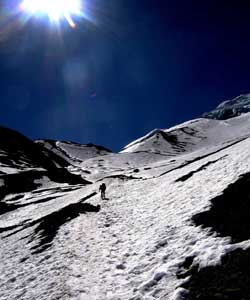 The author climbs up Thorung-La Pass.