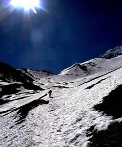 The author climbs up Thorung-La Pass.