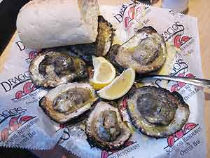 Char-grilled oysters at Drago's