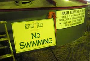 A tongue-in-cheek warning by the mash tubs at Buffao Trace