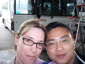 The author and her husband board an ABC bus in Tijuana to Ensenada, Mexico.