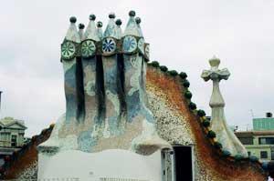 Spires on Gaudi's Casa Casa Batlló in Barcelona