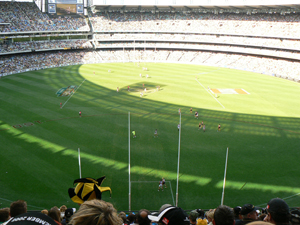 Melbourne Cricket Grounds, one of two venues where players compete on the round field where they play footy.