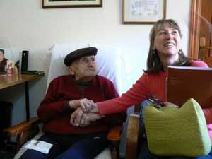 GoNOMAD's Cindy Bigras with 101-year-old Antonio Argiolas