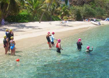 Getting ready for the day's swim on a Swimtrek vacation in the British Virgin Islands