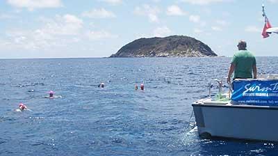 Taking a water break during a Swintrek vacation in the British Virgin Islands
