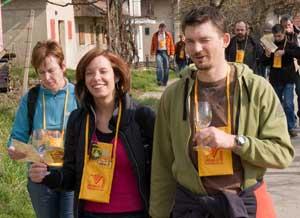 People enjoying a wine tasting in the Czech Republic