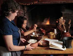 An open-hearth cooking demonstration