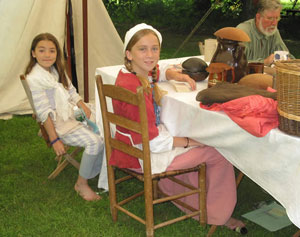Children at the 'Tea and Revolution' history workshop at Historic Deerfield