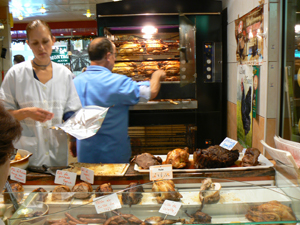 Rotisserie chicken at Les Halles, the big market in the center of Tours, France.