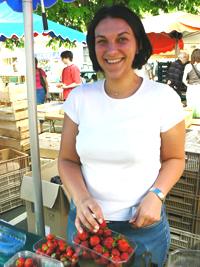Strawberry seller at the Les Halles Market, Tours France.