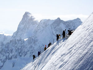 Climbing down to the slopes on Mt. Blanc
