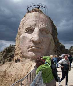 Crazy Horse's face is the first identifiable part of the gigantic sculpture to emerge from the granite. Photos by Mary O'Brien