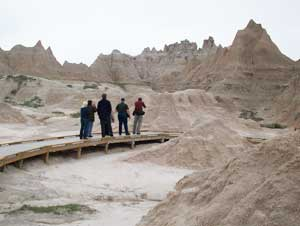 There are hiking trails in the Badlands, but on the boardwalk, you're less likely to come across a rattlesnake.