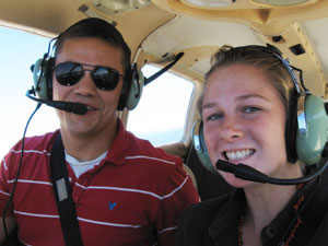 The author and her instructor, Ben Foster, aboard a Piper Warrior II N4302V at Northampton Airport - photos by Kylie Jelley