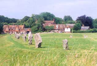 The village and the standing stones at Avebury