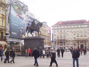 Trg Josip Jelacica, the meeting place in central Zagreb.  Locals traditionally gather around the statue of Ban Jelacic prior to heading out for the evening.
