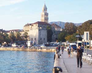 The skyline of Split rising over its Adriatic harbor