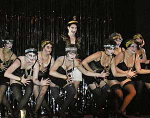 The Emcee and the Kit Kat Girls in the MWVTC production of 'Cabaret'