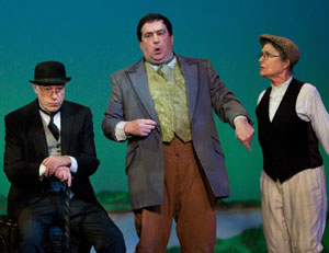 Scott Severance (center) as Mr. Toad with Robert Bates as Badger and Jean Mar Brown as Mole in the Barnstormers Theatre production of 'Toad of Toad Hall'