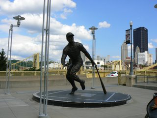 Roberto Clemente statue, outside  PNC Park, home of the Pittsburgh Pirates.