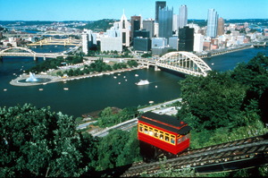 The Pittsburgh skyline, from the Duquesne Incline. photo: Visit Pittsburgh.