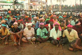 The all-men crowd with their colorful attire