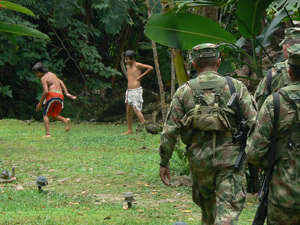 Soldiers are a constant presence all over Colombia, but the locals have a good relationship with most of them and it is not intimidating to a traveler.
