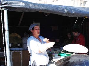A Druze woman in Majdal Shams makes lafa.
