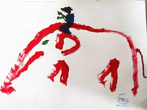 A self portrait by an elephant, complete with a mahout on his back