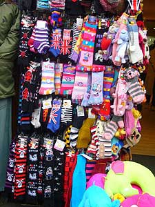 A plethora of colourful gothic socks at Camden Markets