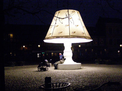 The giant lamp sculpture in Stockholm, Sweden