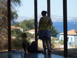 The view on the Aegean from the dance studio