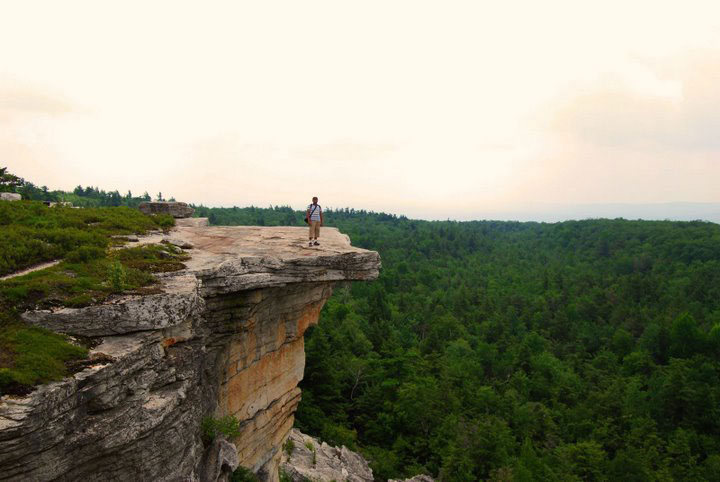 Pinaki Chakraborty on top of Gertrude's nose on the Shawangunk Ridge in upstate New York - photo by Esha Samajpati