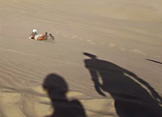 Dune Surfing peru.The most popular way for newbie boarders in Huacachina Peru to tackle a dune is on their belly.