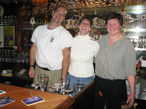 Behind the bar at Bruges Beertje with owner Daisy Claeys in Bruges, Belgium