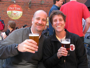 Chris Nelson and Merideth Canham-Nelson at the Falling Rock Tap House in Denver