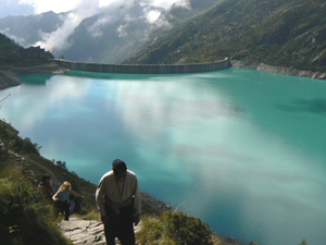 Hiking near a reservoir in Piedmonte, Italy.