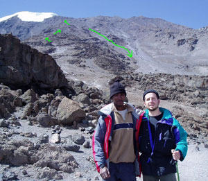 The author and Dastan during the final acclimatization with the summit route shown in the background