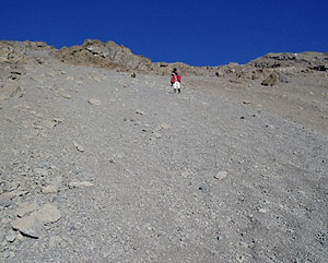 Scree sliding from the summit