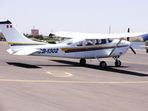 You fly over the Nazca lines in a small plane like this one.