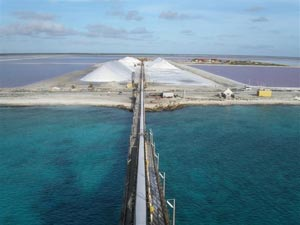 Salt mine in Bonaire, Dutch West Indies. photo courtesy of Cargill Corp.