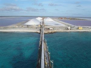 Salt mine in Bonaire, Dutch West Indies. photo courtesy of Cargill Corp.