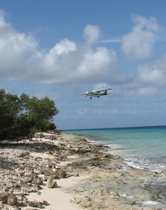 A plane lands at the airport on Bonaire