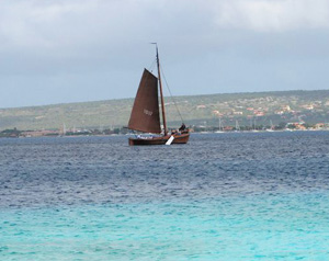 A sailboat off the coast of Bonaire - photo by Toccoa Switzer
