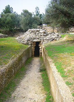 Looking down the dromos of Tholos Tomb A