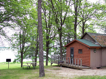 A cabin at Bailey's Resort with a view of Kabekona Bay on Leech Lake